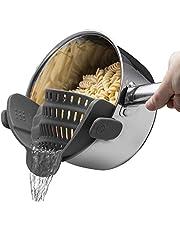 U Chef Escurridor de pasta gris, Colador de silicona filtrador de agua perfecto para cualquier cazuela y olla hecho de silicona de grado alimenticio resistente al calor