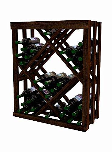 Wine Cellar Innovations DR-DW-ODIAM-A3 Designer Series Open Diamond Bin Wine Rack, Premium Redwood, Without Lacquer Finish, Dark Walnut Stain