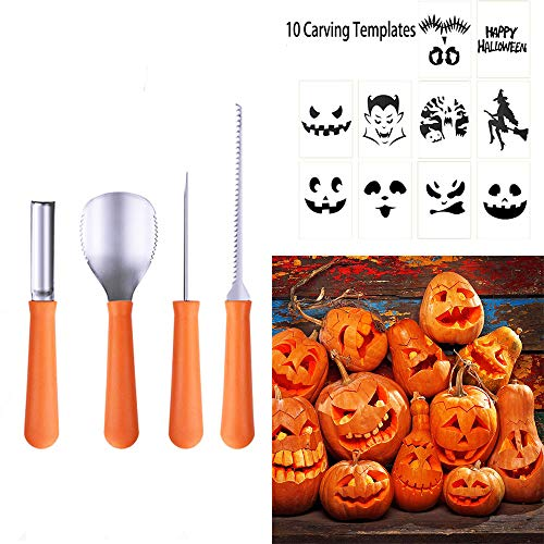 Pumpkin Carving Tools Kit 4Pcs Stainless Steel Carving Kit 10Pcs Different Pumpkin Carving Stickers Fit Halloween Pumpkin Creative Carving For Kids Adults -