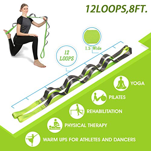 Onory Yoga Strap Stretch Straps for Physical Therapy Pilates Stretching Exercise Bands Non-Elastic Multi Loops