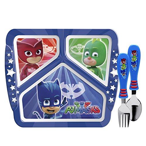 Zak Designs PJMA-2070-B PJ Masks Kids Dinnerware Sets, Plate + Flatware, 3pc -