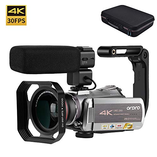 Video Camera 4K Camcorder ORDRO Real 4K Ultra HD 30FPS Digital Video Camera 48MP WiFi Recorder IR Night Vision 3.1″ IPS Touch Screen with Stereo Microphone, Wide Angle Lens and Camera Holder