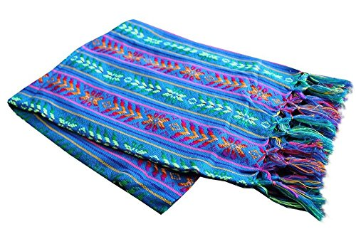 Del Mex Mexican Rebozo Shawl Blanket Doula (X-large (9 ft x 5 ft), Blue)
