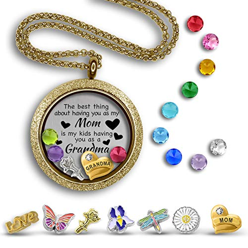 (A Touch of Dazzle Grandma Gifts Mother Daughter Necklace for Mom & Grandma Necklace Best Thing About Being My Mom Necklace Gifts for Grandma Jewelry Ideas Floating Charm Necklace Locket)