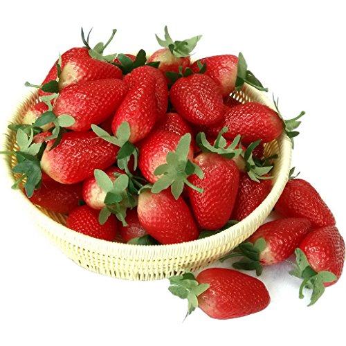 Gresorth 10pcs Artificial Lifelike Wine Red Simulation Strawberry Fake Fruit Home Kitchen Decor