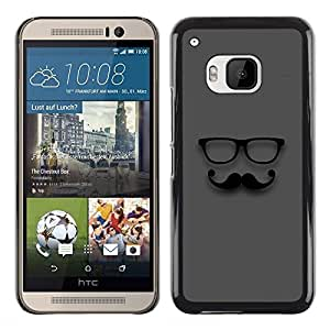 Planetar® ( Moustache Glasses Sir Grey Hipster ) HTC One M9 Fundas Cover Cubre Hard Case Cover