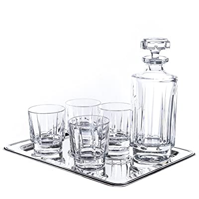 Reed And Barton 6-piece Estate Whiskey Drinkware Barware Drink Set With 4 Double Old Fashioned Glasses, Nickel-plated Rectangular Mirror Tray And Decanter