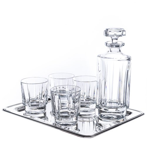 Reed And Barton Estate 6 Piece Whiskey Set - 4 Glasses, 1 Decanter And 1 Tray (Estate Collection Cut Crystal)