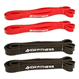 4 KOR Fitness 4 Pack of Warrior Bands (2 Red and 2 Black)