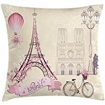 Kiss Throw Pillow Cushion Cover by Ambesonne, Floral Paris Symbols Landmarks Eiffel Tower Hot Air Balloon Bicycle Romantic Couple, Decorative Square Accent Pillow Case, 18 X 18 Inches, Ivory Pink