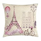 hot air balloon paris - Kiss Throw Pillow Cushion Cover by Ambesonne, Floral Paris Symbols Landmarks Eiffel Tower Hot Air Balloon Bicycle Romantic Couple, Decorative Square Accent Pillow Case, 16 X 16 Inches, Ivory Pink