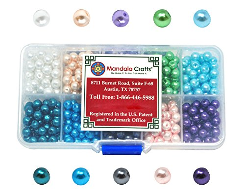 Mandala Crafts 4mm 6mm 8mm Assorted Round Colored Glass Pearl Beads Kit in Bulk for Jewelry Making (6mm, Combo (Pearl Beads Bulk)
