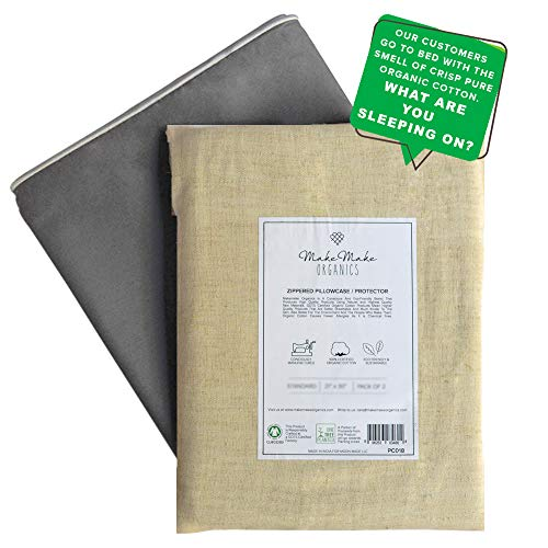 GOTS Certified Organic Cotton Pillow Cases (Set of 2) | Zippered Pillow Cases | Natural Organic Pillow Cases | Dust Mites & Allergy Barrier | Pewter Gray with White Piping ()