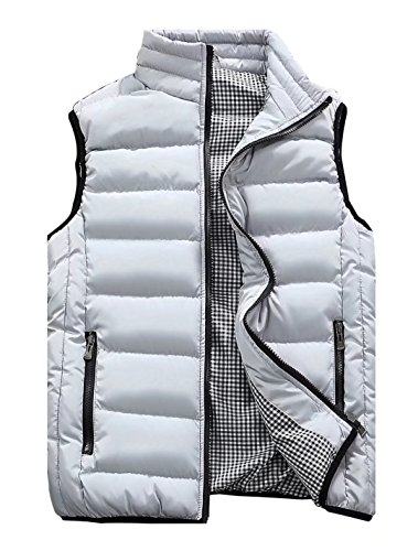 Vcansion Men's Outdoor Casual Stand Collar Padded Vest Lightweight Down Cotton Jacket Coat Vest White Grey L