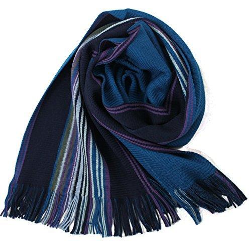 Rotfuchs Scarf - knitted, blue 100% wool (Merino)