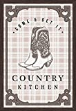 Country Kitchen - Cowboy Boots on Plaid (24x36 Giclee Art Print, Gallery Framed, Espresso Wood)