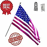 AES 3 x 5 Foot Polycotton US American Flag Kit with 6 Foot Steel Pole and Bracket Fade Resistant Double Stitched Premium Penant House Banner Grommets Review