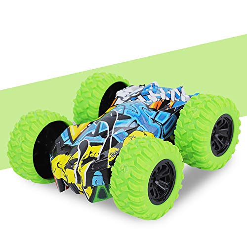 Rabung Inertia-Double Side Pull Back Cars Friction Powered Vehicles, Stunt Graffiti Car Off Road Model Toy Car Best Birthday Party Festival Gift for Kids (Green)
