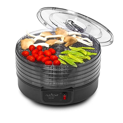 Electric Countertop Food Dehydrator Machine - Professional Multi-Tier Food Preserver, Beef Jerky Maker, Fruit Vegetable Fish Poultry Dryer w/ 5 Stackable Trays, 180° F Max Temp - NutriChef by NutriChef