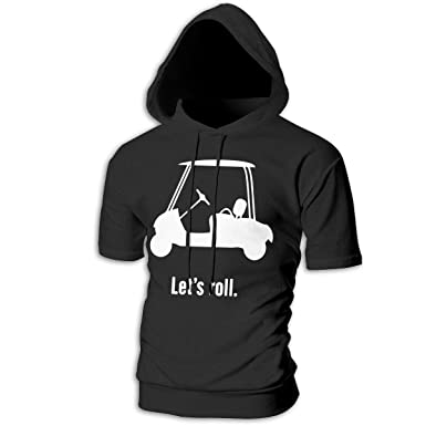 bd9d42a98a21 FiftyJoy1 Mens Let s Roll Golf Cart Sports Short Hoodie Sweatshirt  Essential Fitness Pullover Tee