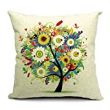 Summer Flowrs and Little Tree Printed Linen Cushion Cover 09