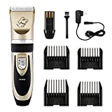 Patec Dogs and Cats Electric Clipper, Professional Pet Hair Shaver , Grooming Trimmer Kit, with Low Noise Low Vibration, Rechargeable Cordless Pet Fur Grooming Set with 4 Comb Guides and Cleaning Brush