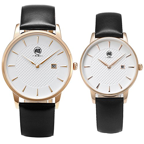 AIBI Set of 2,His and Her Analogue Quartz Rosegold Waterproof Watches For Couple Lovers With Date