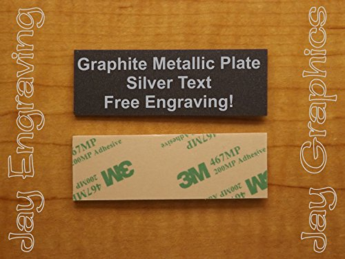 Custom Engraved 1x3 Graphite Metallic Plate | Name Tag Sign | Badge With Adhesive | Engraving Trophy Plaque Urn Keepsake Loving Personalized Scrapbook Organize Small Business Home Office Wall ()