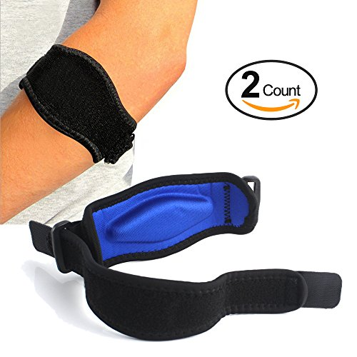 Tennis Elbow Brace (2+2 Pack) with Compression Recovery Pad for Men & Women - Best Tennis & Golfer's Elbow Support Strap Band Relieves Tendonitis Epicondylitis and Forearm Pain Relief, Wrist Sweatband by TRAUST