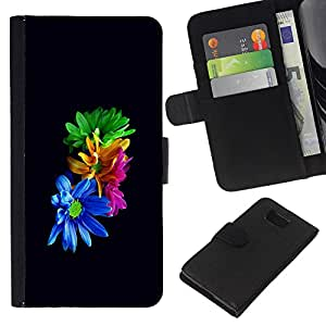 LECELL--Cuero de la tarjeta la carpeta del tirón Smartphone Slots Protección Holder For Samsung ALPHA G850 -- Flores coloridas --