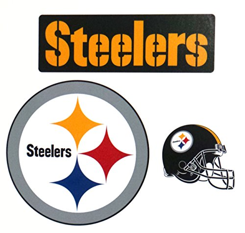 Pittsburgh Steelers FATHEAD Team Set of 3 Official NFL Vinyl Wall Graphics Steelers Logo Sign Helmet 5
