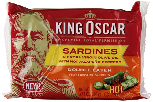 King Oscar Sardines in Extra Virgin Olive Oil with Hot Jalapeno Peppers, Double Layer, 3.75 Ounce (Pack of 12)