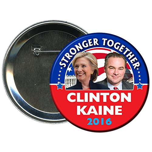 Hillary Clinton and Tim Kaine Round 2016 Campaign Button 4 (Hillary Clinton Campaign Buttons)