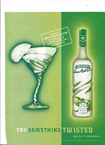 MAGAZINE AD For 2002 Smirnoff Green Apple Twist Vodka: Try Something Twisted