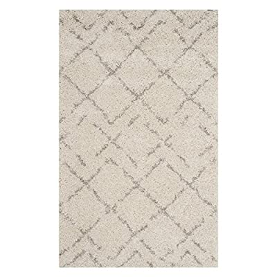 Safavieh Arizona Shag Collection ASG743A Southwestern Diamond Geometric Ivory and Beige Area Rug