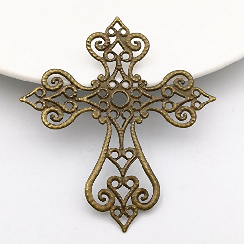 Charm Filigree Cross Wraps Connectors Craft Base Setting Jewelry Making Findings DIY (Bronze)