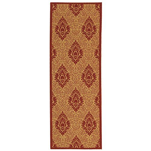 Safavieh Courtyard Collection CY2714-3701 Natural and Red Indoor/ Outdoor Runner (2'3