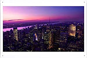 """Wall Art Printing on Metal Tin Decoration Poster Sign of City 8605 8""""x12"""" Inches by Photo Digger"""