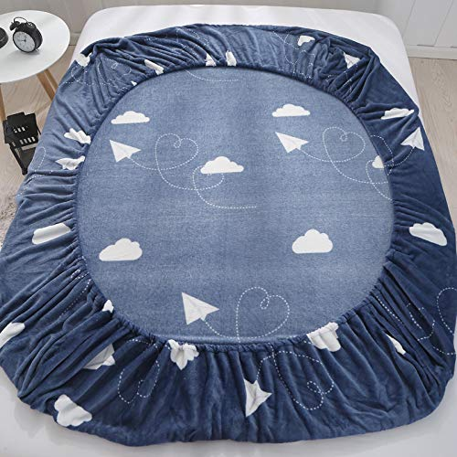 KFZ Fleece Fur Fitted Sheet Bedsheet Protector Without Pillowcases for Single Double Bed CA1808 Twin Full Queen King Cloud Crown Fashion Boy Designs 1PC for Kids (Cloud, Blue, Full 59''x79'')