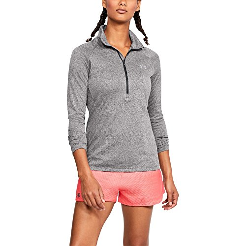 Under Armour Women's Tech ½ Zip, Charcoal Light Heath /Metallic Silver, Large