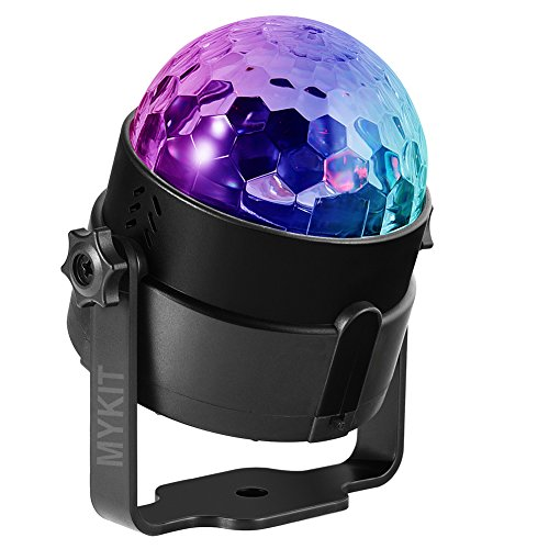 - Wireless Party Light Rechargeable DJ Light 4W RGBP (Red/Green/Blue/Purple) LED Disco Ball 7 Modes Stage Light Music Rhythm Activated Atmosphere Light, USB Charge, with Remote Control & Sucker Bracket