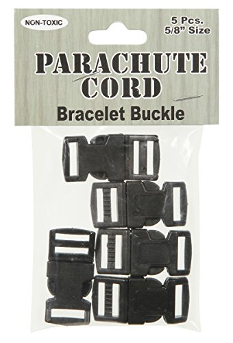 Pepperell Parachute Cord Bracelet Buckles, 15mm, Black, 5 Per Package