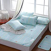 Summer Cooling Sleeping Mat and 2 Pillowcases Total 3 Sets, Washable Silk Soft Mat Three Piece Mat,Smart Forest,150×200Cm