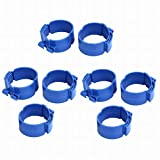 Fuxell 75mm Dia 38mm Width Central Air Conditioner Pipe Clip Clamp Blue 8pcs
