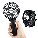 iEGrow Portable USB Mini Battery Fans with Umbrella Hanging and Metal Clip(Black)