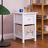 2 Tier 1 Drawer Bedside Organizer Wood Nightstand w/ Basket