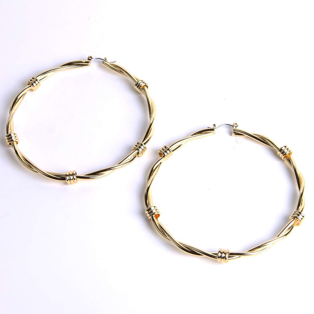 YESLADY Big Gold Hoops For Women Girls Knot Hoop Earrings 80mm