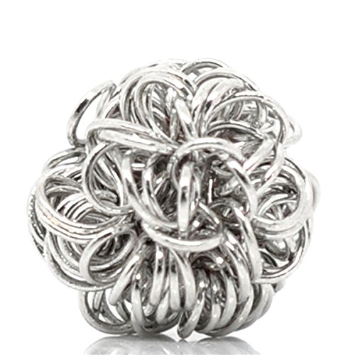 Silver 10mm Wire Flower Beads - 30PCS Dull Silver Tone Flower Wire Coiled Beads Charms Jewelry Making Findings 10mm