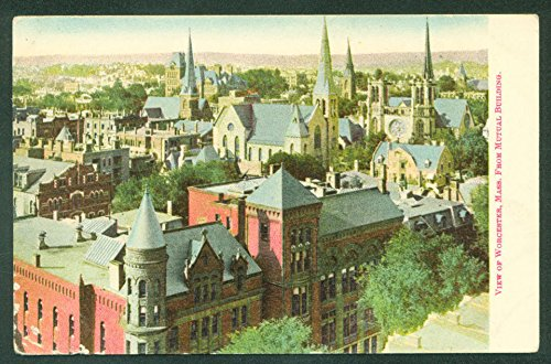 WORCESTER Massachusetts View from MUTUAL BUILDING Churches Scene MA UDB (Mutual Building)