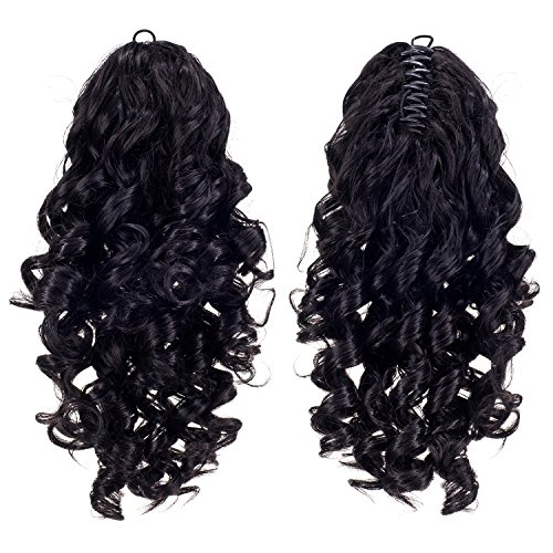 SWACC 12-Inch Short Screw Curls Claw Clip Ponytail Extensions Synthetic Clip in Drawstring Curly Ponytail Hairpiece Jaw Clip Hair Extension (Off Black-1B#)